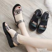 新款夏季平底女鞋中年中老年舒適女士百搭厚底中跟媽媽鞋涼鞋  朵拉朵衣櫥
