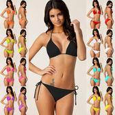 錦綸多色比基尼綁帶聚胸泳裝胸墊三點式bikini泳衣大尺碼 大呎碼女三角衣櫥