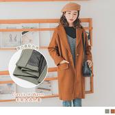 《EA2848》質感毛呢復古圓點內裡長版大衣外套 OrangeBear