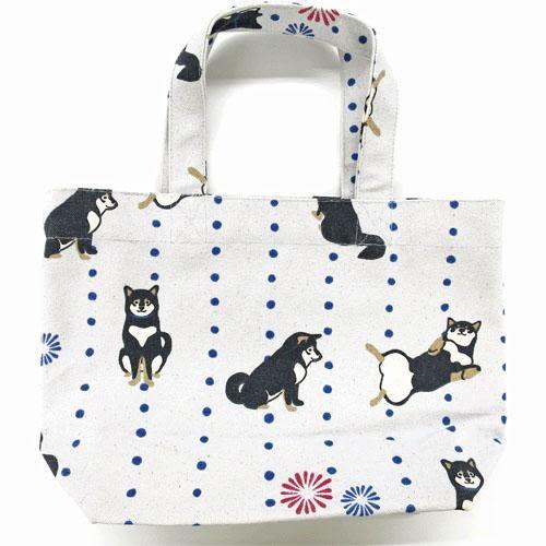 【日本厳選】Funny柴犬 灰底黑柳柴犬帆布手提包