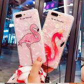iPhone 7 Plus 火烈鳥貝殼紋 手機殼 絲帶掛繩 防摔半透明保護殼 掛繩防摔軟殼 保護套 超薄全包 iPhone7