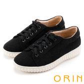 ORIN 潮流同步 素面綁帶平底休閒鞋-黑色