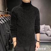 男士修身高領針織衫秋冬季毛衣兩翻領打底衫緊身線衣男裝上衣線衣『潮流世家』