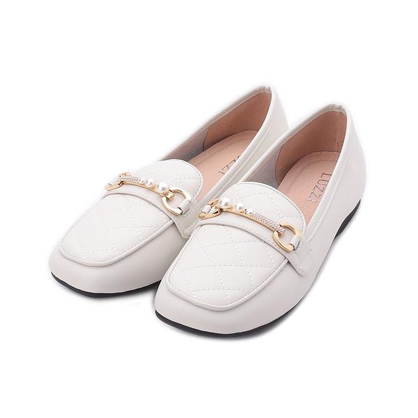 LUZZI 牛皮車格珠鑽平底鞋 白 女鞋