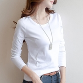新款長袖 秋季女棉質白色長袖t恤女裝打底衫修身純色體恤韓版新款上衣 快速出貨