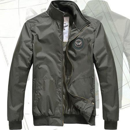 螺紋立領徽章飛行員外套/風衣/夾克 2色 M-2XL碼【CW434209】