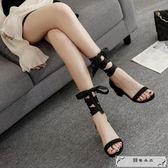 仙女風2019新款韓版一字扣帶中跟絲帶綁帶女涼鞋夏季粗跟高跟女鞋
