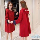 現+預 加絨連帽抽繩開衩字母袖孕婦洋裝 紅【CRH230107】孕味十足。孕婦裝
