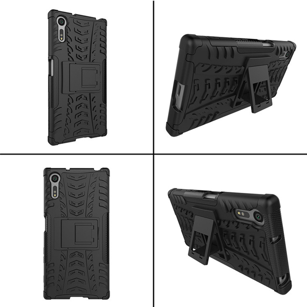 King*Shop~索尼Xperia XZ手機殼F8332保護套 索尼XZ戰甲外殼F8331支架皮套