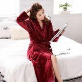 睡袍女男睡衣珊瑚絨紅色結婚冬天加厚加長款情侶浴袍 萬客居