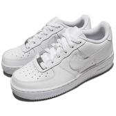 Nike 休閒鞋 Air Force 1 GS 全白 白 小白鞋 皮面版本 大童鞋 女鞋【ACS】 314192-117
