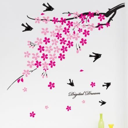 壁貼 DIY創意無痕 牆貼 貼紙【半島良品】-櫻花飛燕 AY936