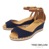 Tino Bellini 巴西進口棉麻編織繫踝楔型魚口涼鞋_ 藍 B73209A 歐洲進口款
