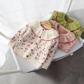 女童外套 2019女童秋冬毛衣外套兒童韓版花邊領針織衫女寶寶開衫毛線衣