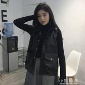 春季新款韓版百搭薄款PU皮衣女裝機車馬甲小立領無袖外套學生『小淇嚴選』