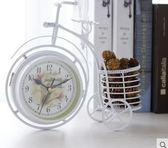 創意鐵藝自行車擺件雙面鬧鐘xx544【VIKI菈菈】