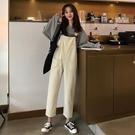 春季韓版女裝長褲寬鬆高腰顯瘦口袋背帶褲連...
