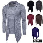 『潮段班』【HJ000M50】日韓流行秋冬新款假兩件式加厚毛衣針織外套