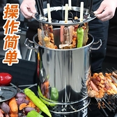 木炭燒烤爐家用室內無煙碳烤肉串機戶外小型不銹鋼吊烤架【橘社小鎮】