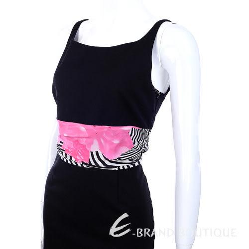 MOSCHINO 印花拼接設計U領洋裝(黑色) 1090029-01