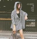 DE shop - 韓系百搭連帽格子翻領長袖襯衫 - YY-017