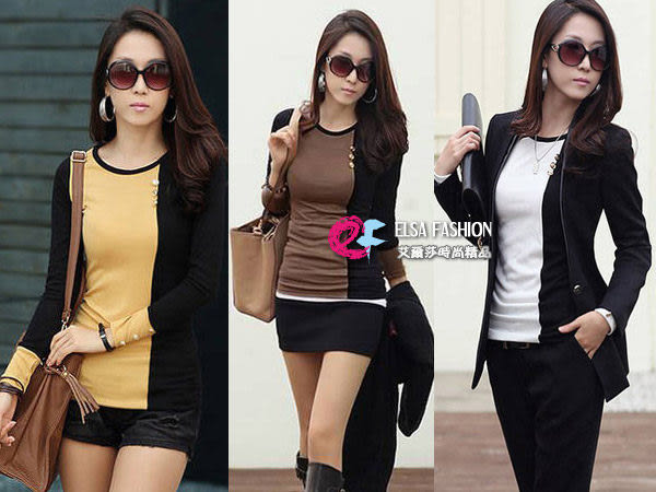 T恤發熱衣暖暖包*艾爾莎*設計款雙併色極顯瘦貼身長袖圓領上衣S~XL【TAH3257】