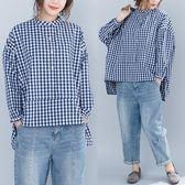 8100秋季大碼格子圓領襯衫不對稱蝙蝠袖簡約寬松百搭女上衣53ZL-5F-516-D衣人有約