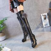膝上靴 過膝長靴 過膝馬丁靴 長筒馬丁靴 高跟過膝靴長靴細跟長筒靴顯瘦靴子防水臺彈力高筒靴