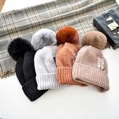 毛帽-仿貉子毛毛球純色字母男女針織帽7色73ug14[巴黎精品】