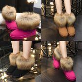 冬季新款圓頭磨砂仿狐貍毛雪地靴加絨加厚棉鞋女鞋休閒保暖短筒靴