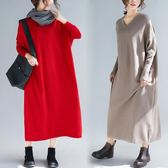 實拍秋季女裙子新款長款大尺碼寬鬆長袖針織洋裝連身裙秋季毛衣長裙洋裝 店慶降價