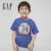 Gap男幼童 Gap x Marvel 漫威系列美國隊長棉質舒適印花圓領短袖T恤 548758-淺藍色