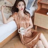 睡衣女夏季薄款冰絲短袖蕾絲正韓性感寬鬆大碼冰絲睡裙家居服【快速出貨】