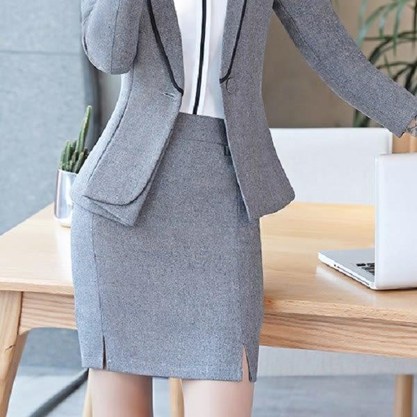 美之札[YS-7101-PF]中尺碼*純色開衩下襬OL上班搭配短裙窄裙~偏小版