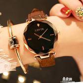 手錶女學生時尚潮流韓版簡約休閒大氣ulzzang水鑽皮帶防水石英錶    易家樂