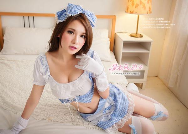女僕裝 藍白格子兩截式小可愛圍裙 情趣角色扮演服飾- 愛衣朵拉