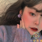復古法式耳環耳夾無耳洞女紫色花朵耳釘可愛小清新韓國氣質【奇妙商鋪】