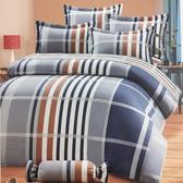 【免運】精梳棉 雙人加大床罩5件組 百褶裙襬 台灣精製 ~典雅線條/藍~ i-Fine艾芳生活