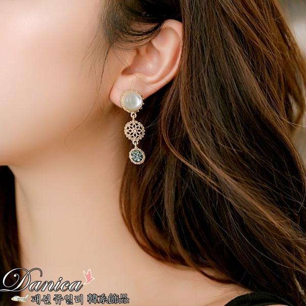 現貨不用等 韓國氣質女神巴洛克簍空花紋貓眼水鑽垂墜夾式耳環 S93249 批發價 Danica 韓系飾品