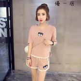 睡衣女夏季純棉短袖韓版寬鬆居家服