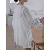 王妃家冰絲防曬罩衫女長袖套頭薄款長袖白色寬鬆中長款韓版上衣潮-米蘭街頭