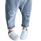 兒童牛仔褲 韓版微笑牛仔長褲褲頭鬆緊長褲 笑臉休閒百搭褲 88650