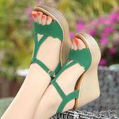 厚底涼鞋女 坡跟女涼鞋夏高跟厚底防水臺女鞋鬆糕大碼40-43碼涼鞋女 寶貝計畫