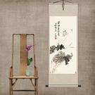 荷花蜻蜓絲綢國畫捲軸掛畫家居裝飾古色古香送禮送老外客戶禮品畫