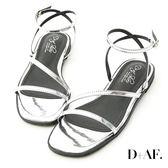涼鞋 D+AF 完美品味.一字斜帶繫踝平底涼鞋*銀