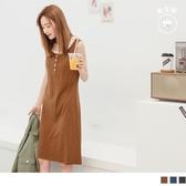 《DA7855-》假兩件拼接半開襟排釦高含棉無袖背心洋裝 OB嚴選