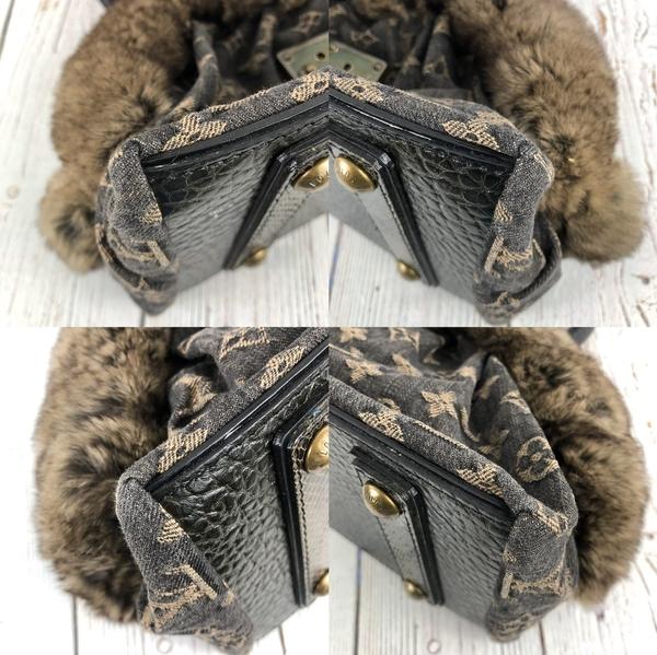BRAND楓月 LOUIS VUITTON LV 路易威登 M95092 黑單寧原花兔毛蛇皮手提包 肩背包 珍稀皮革