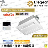 《樂奇》浴室暖風機 BD-135L /235L(附LED燈) 超靜音暖乾王【浴室暖風乾燥機110v~220v】