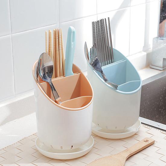 可拆卸瀝水收納桶 餐具 廚房 筷子 叉子 湯匙 勺子 瀝乾 乾燥 通風 台面【S022】米菈生活館