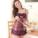 i PINK 迷情戀曲 蕾絲網紗裙裝睡衣(紫)